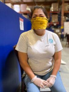 Amanda Covarrubias volunteering at the food bank, Elevate Phoenix youth charity